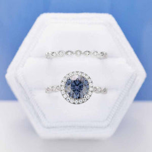 2 Carat Dark Gray-Blue Moissanite Halo  Engagement Eternity Two Rings Set
