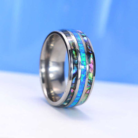 Genuine Australian Blue Fire Opal with Abalone Shell Titanium Ring For Him For Her