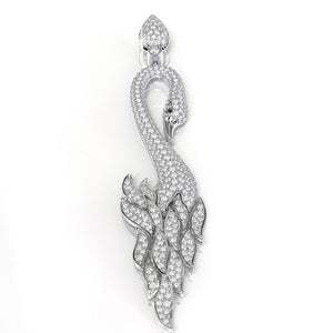 2.7 CTW Diamond Swan 18K White Gold Pendant