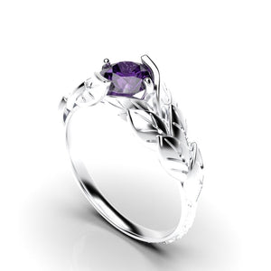 1.0 Carat Amethyst Leaf Engagement Ring