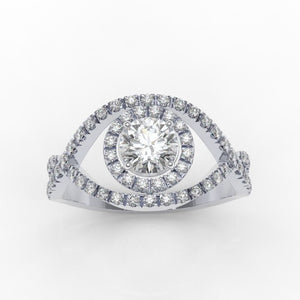 1.0 Carat Moissanite Diamond Halo Engagement Ring