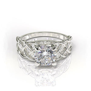 2.0 Carat Sapphire Diamond Engagement Gold Ring