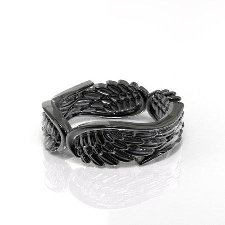 14K White Gold Wings Ring