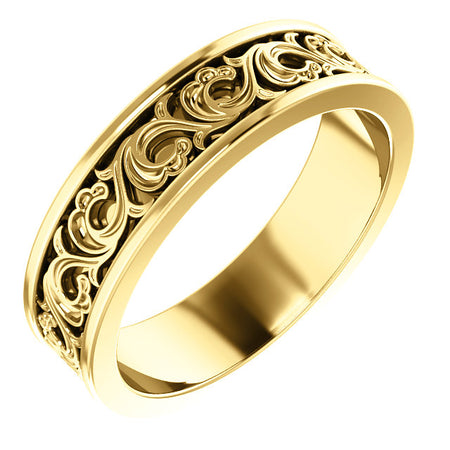 14K Gold 6 mm Sculptural-Inspired Band
