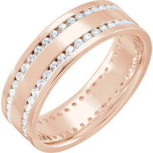 14K Gold 1 1/8 CTW Diamond Flat Comfort-Fit Band