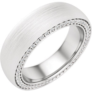 14K Gold 0.9 CTW Diamond Round Satin Finish Band