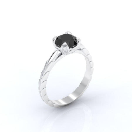 2.0 Carat Black Moissanite Engagement Ring