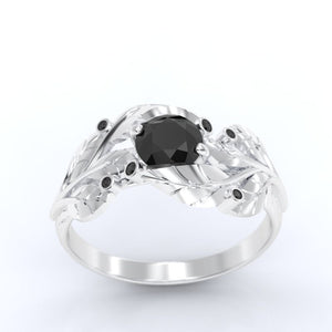 1.0 Carat Black Moissanite Diamond Engagement Ring 14K  White Gold