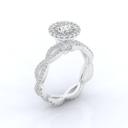 0.7 Carat GIA Diamond Halo Twisted  Engagement Ring