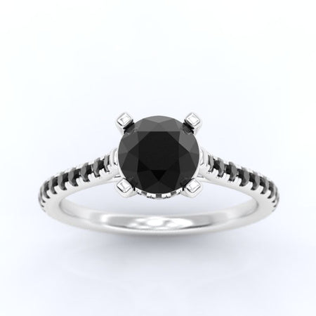1.5 Carat Black  Moissanite Diamond Engagement Ring