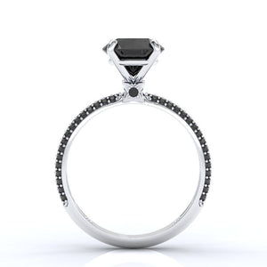 ''Carmen'' 2 Carat Black Moissanite 14K Gold Engagement Ring