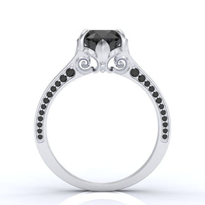 Ascella 2.6 Carat Black Diamond White Gold Engagement Ring