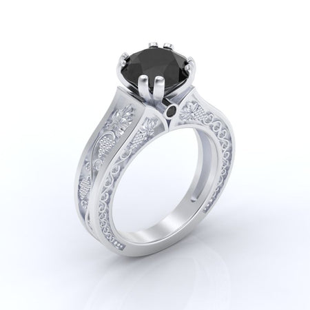 2.0 Carat Black Moissanite Diamond Engagement Ring