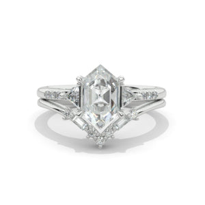 14K White Gold 3 Carat Hexagon Moissanite Halo Engagement Ring, Eternity Ring Set