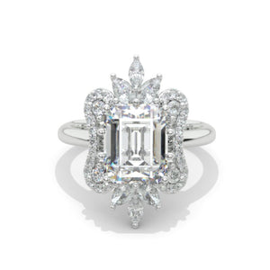 3 Carat Moissanite Diamond Emerald Cut Halo White Gold Engagement  Ring