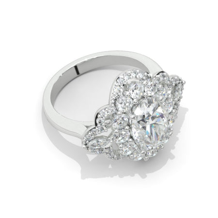 3 Carat Moissanite Diamond Oval Cut Halo White Gold Engagement  Ring