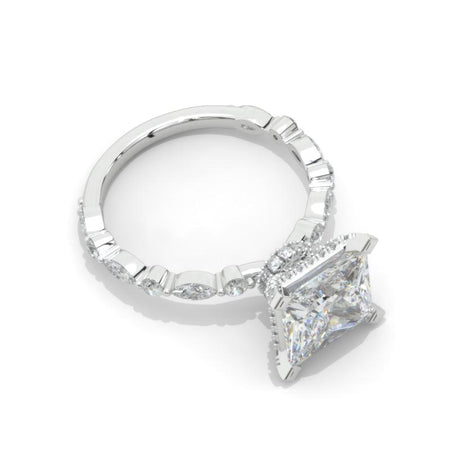 2.5 Carat Princess Cut Moissanite Diamond  White Gold Giliarto Engagement Ring