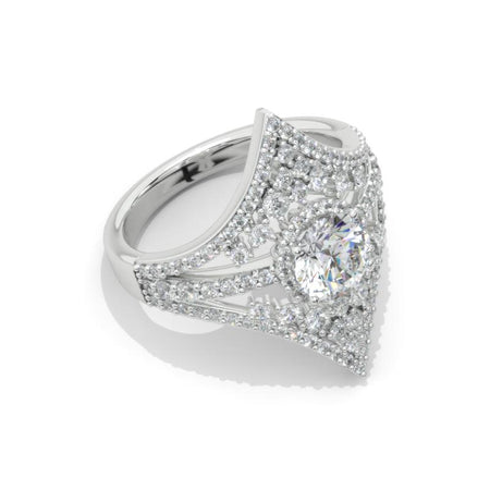 1.0 Carat Giliarto Moissanite Diamond Engagement Ring 14K White Gold