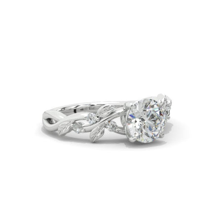 2 Carat  Moissanite Diamond  Floral  White Gold Engagement  Ring