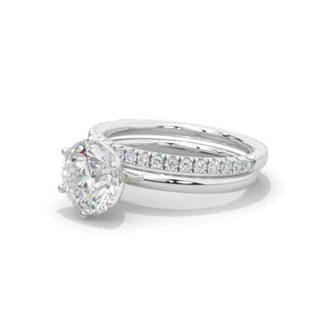 14K White Gold 2 Carat Round Moissanite Floral Engagement Ring, Eternity Ring Set