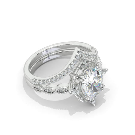 14K White Gold 2.5 Carat Oval Moissanite Halo Engagement Ring, Eternity Ring Set