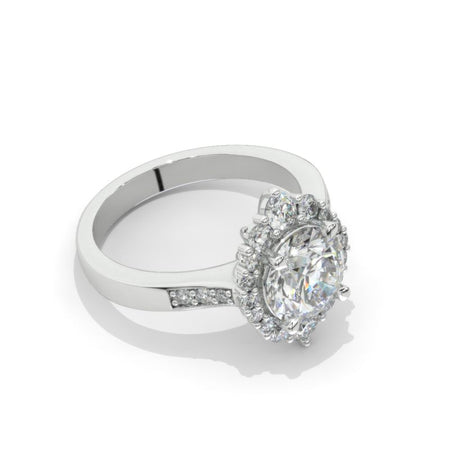 2 Carat Moissanite Diamond Round Cut Halo White Gold Engagement  Ring