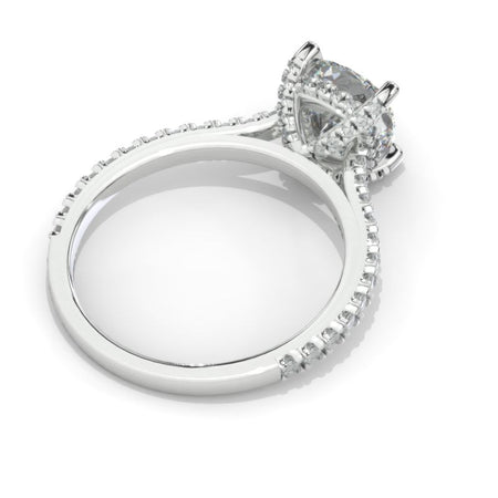 2 Carat Moissanite Diamond Cushion Cut Hidden Halo White Gold Engagement  Ring
