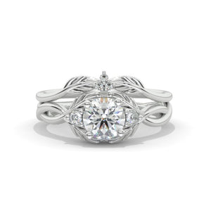 Moissanite Diamond Giliarto Floral Shank Gold Engagement Ring