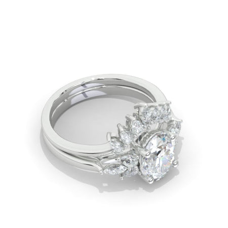 2 Carat Oval Moissanite Halo Vintage Engagement Ring, Eternity Ring Set