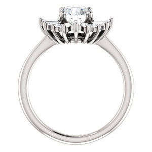 14K White Gold 6.5 mm Round Forever One Moissanite 1/2 CTW Diamond Engagement Ring