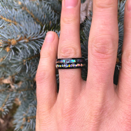 Abalone Shell and Fire Opal Engagement Men's Tungsten Carbide Ring