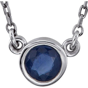 "Genuine Blue Zircon Bezel with 16"" Necklace - Giliarto"