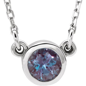 "Genuine Alexandrite Bezel with 16"" Necklace - Giliarto"