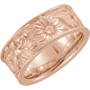 14K White 8.5 mm Floral-Inspired Band