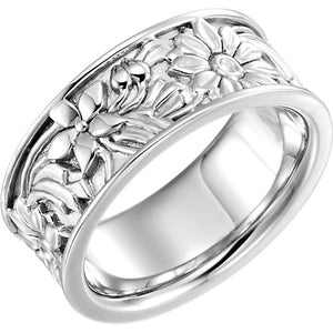 10K White 8.5 mm Floral-Inspired Band