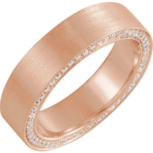14K Gold 6 mm 7/8 CTW Diamond Accented Band with Satin Finish