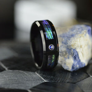 Natural Abalone Shell Men's tungsten carbide ring with high polished comfort fit inner face.