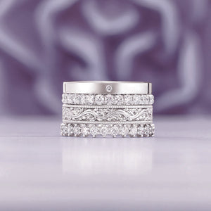 0.6 Carat Diamond Anniversary Ring 14K White Gold Ring