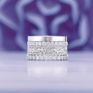 14K White 7/8 CTW Diamond French-Set Eternity Band