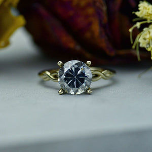 3.7 Carat Grey Gray Moissanite Stone 10K White Gold Ring