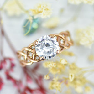 2.0 Carat Sapphire Diamond Engagement Rose Gold Ring