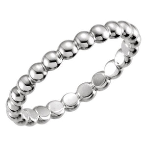 14K White 2.5 mm Beaded Stackable Ring