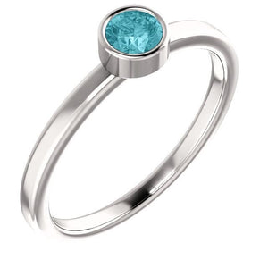 14K White Blue Zircon Ring