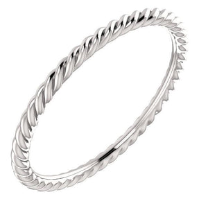 14K White 1.5 mm Skinny Rope Band