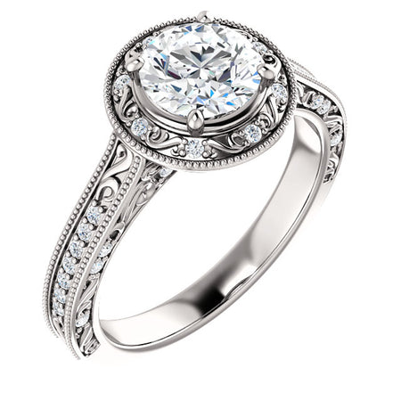 14K Gold 6.5mm Round Forever One Moissanite 1/4 CTW Diamond Engagement Ring