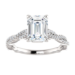 14K Gold 8x6 mm Emerald Cut Forever One Moissanite 1/3 CTW Diamond Engagement Ring
