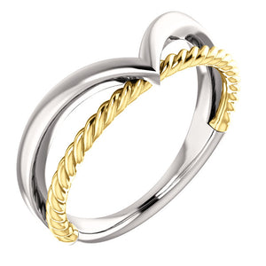 14K White & Yellow Gold Rope Ring