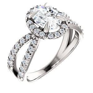 10K  White Gold 1.25 Carat Oval Forever One Moissanite Diamond Halo French-Set Engagement Ring
