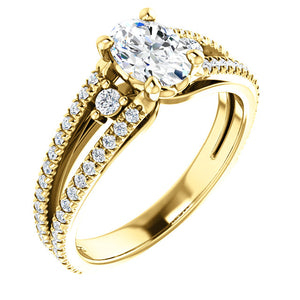 14K Yellow 7x5 mm Oval 3/8 CTW Diamond Engagement Ring