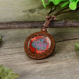Tree of Life Glass Wood Pendant Necklaces